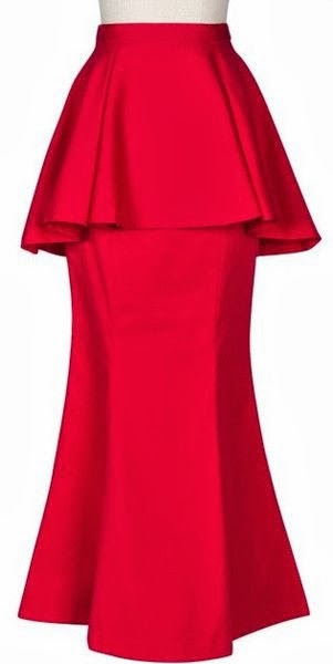Modest Peplum Maxi Skirt in Red available at Mode-sty