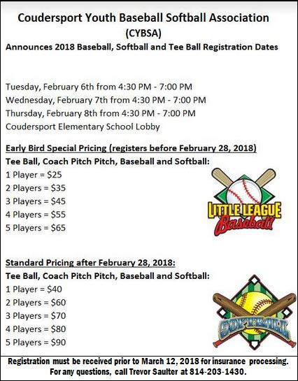 2-6/7/8 Coudy Youth Baseball/Softball Signups
