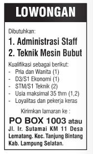 Lowongan Staff Administrasi dan Teknik