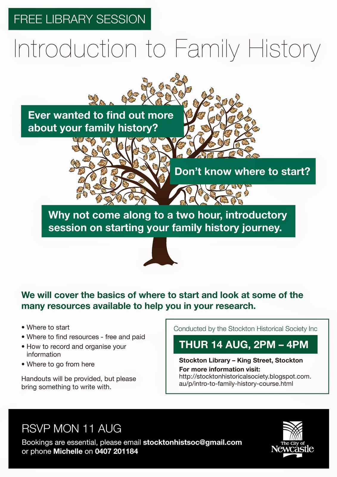 Stockton Historical Society Inc: Free Intro to Family History Course ...