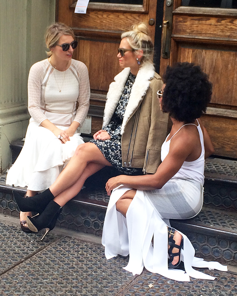 On a Soho stoop for Keaton Row, Rebecca Taylor white flowy dress