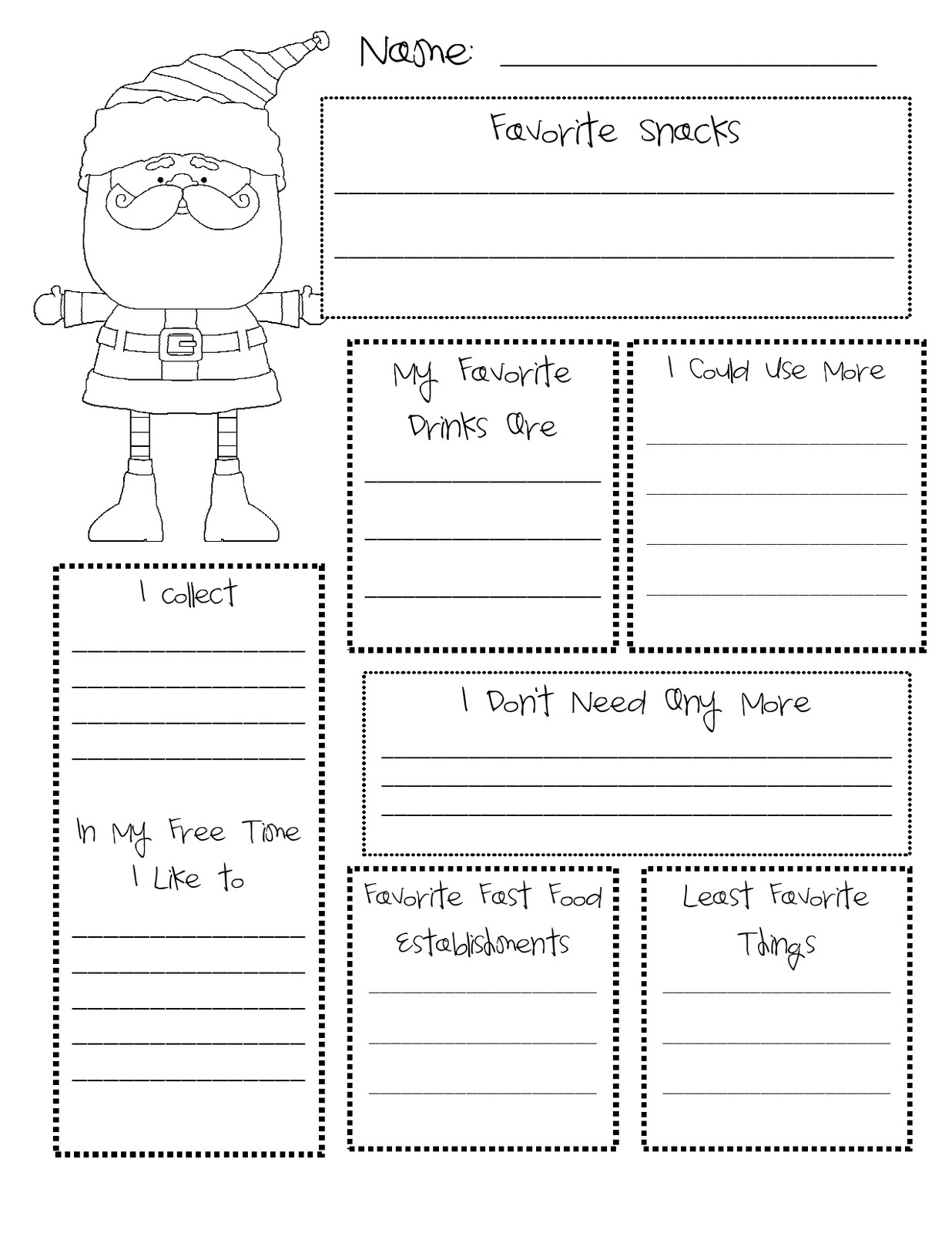 Secret Santa Wish List Template | myideasbedroom.com