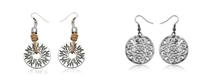 Pendientes cuero y plata de Rhea & Rose