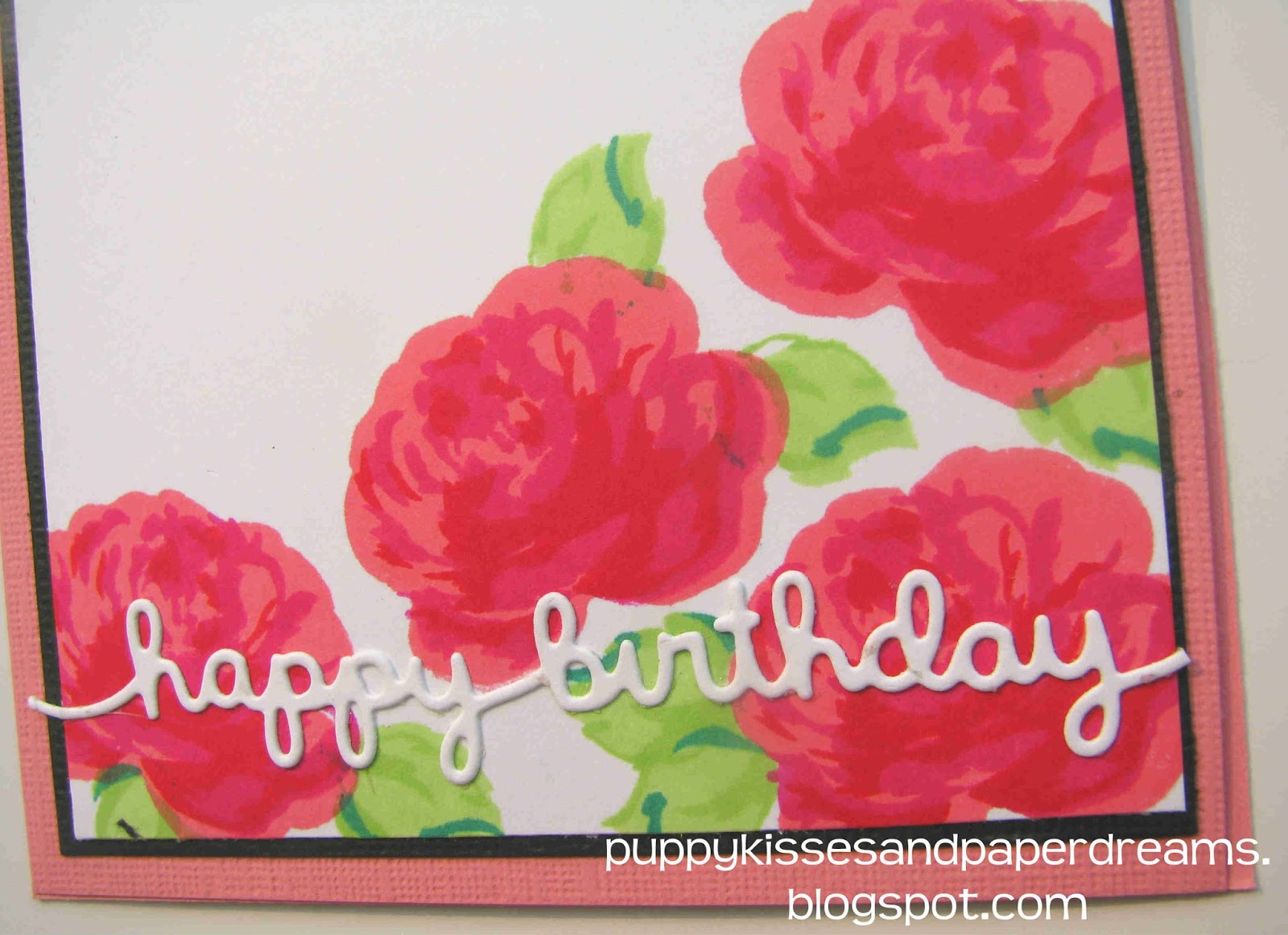 Puppy kisses and paper dreams birthday flower cards 08292015 the happy birthday sentiment was a die cut from lawn fawn called happy birthday border i cut it out from white cardstock and adhered it to the front of izmirmasajfo
