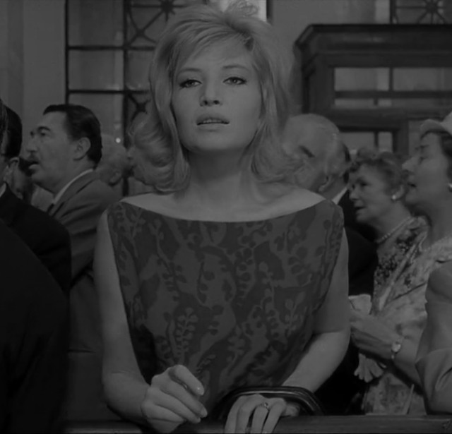 film scene, film still, fashion, dress, actress, 60's movie fashion, Monica Vitti, Italian movie, Bateau beck dress, fashion in cinema,