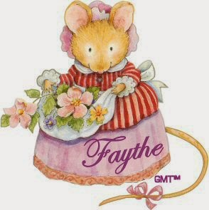 mouse with apron full of purple flowers name tag image