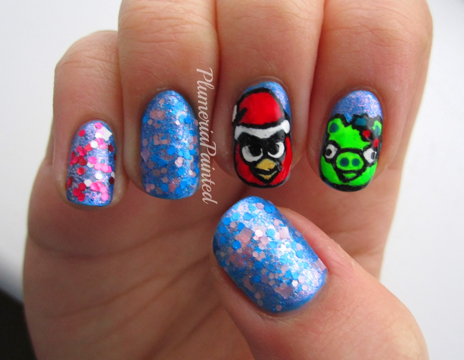 PlumeriaPainted: The iPhone (Nail) Series: Angry Birds Christmas