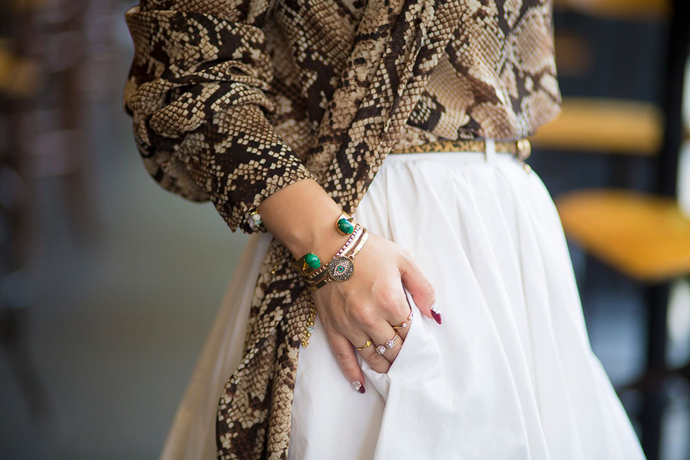 Crystal Phuong- Fashion Blogger- White skirt & snake skin blouse