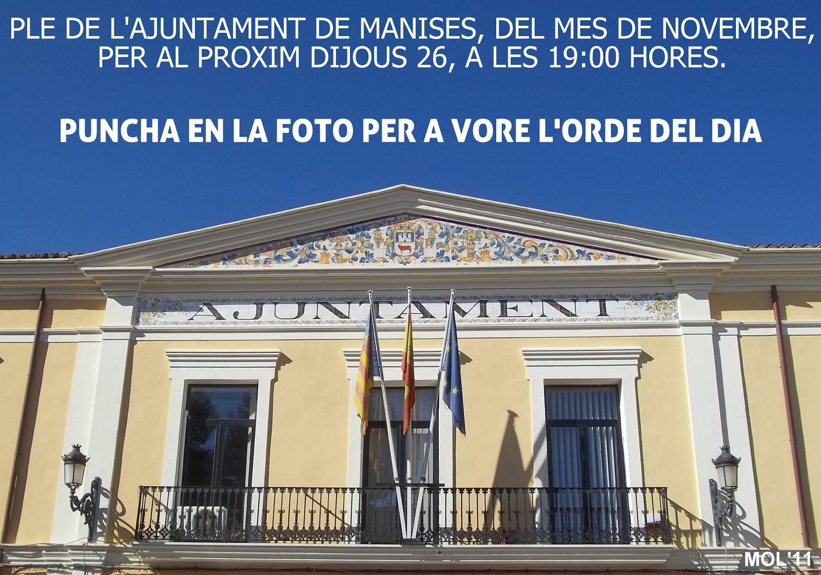 26.11.15 ORDEN DEL DÍA DEL PLENO DEL AYUNTAMIENTO DE MANISES, ORDINARIO NOVBRE