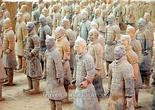 Terracotta warriors stand in battle array.