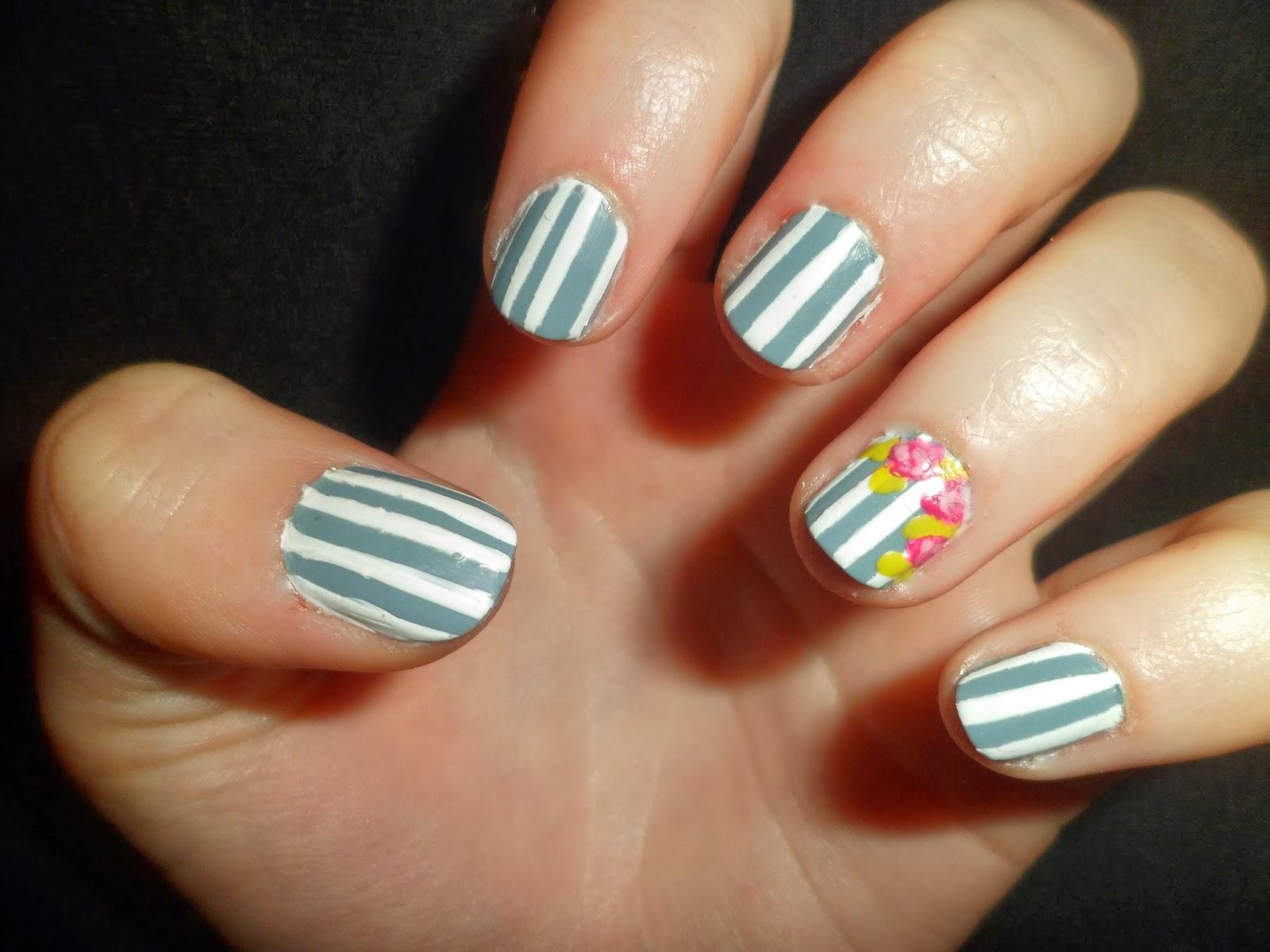 Roses Nail Art Stripes