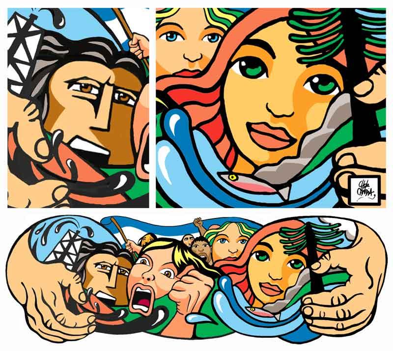 Pow el blog del chelo candia ilustraci n boceto de mural for Como pintar un mural en la pared