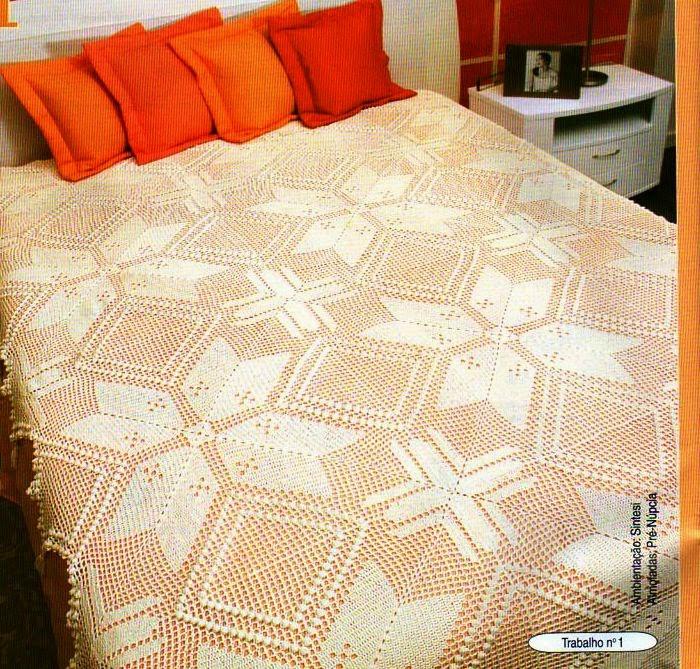 Patrón de Cubrecama con maravilloso diseño crochet filet
