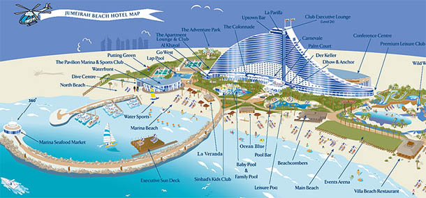 Jumeirah beach hotel structure in dubai for Map of dubai hotels