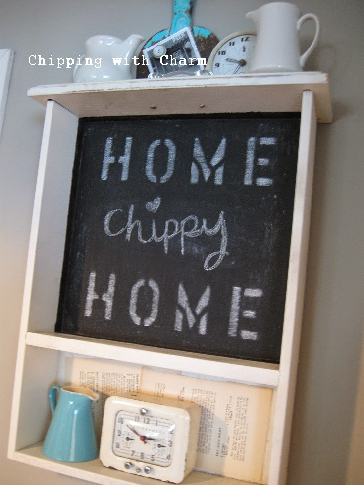 Chipping with Charm: Kitchen Drawer turned Chalkboard Shelf...http://chippingwithcharm.blogspot.com/