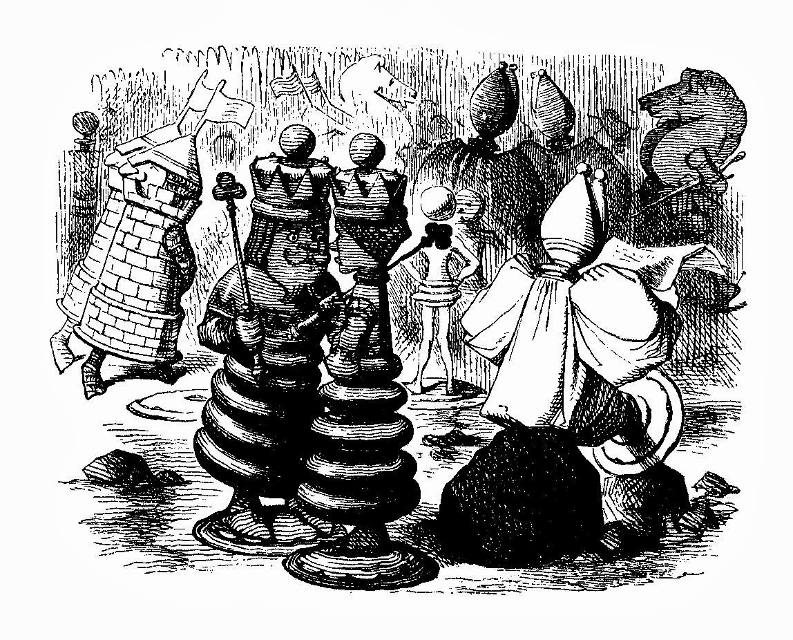 Free Alice in Wonderland Digital Stamp: King and Queen Chess Pieces