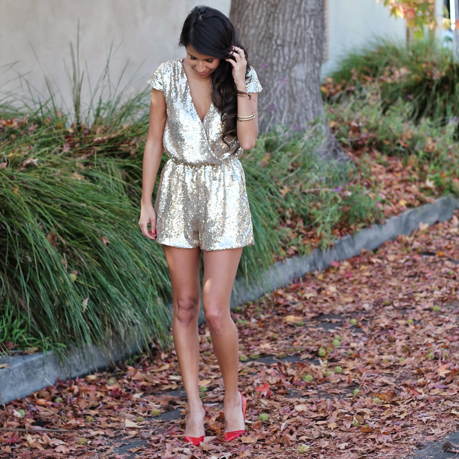 the stylist LA, sequined romper, how to wear a romper, holiday outfit ideas, holiday style, pursuit of shoes