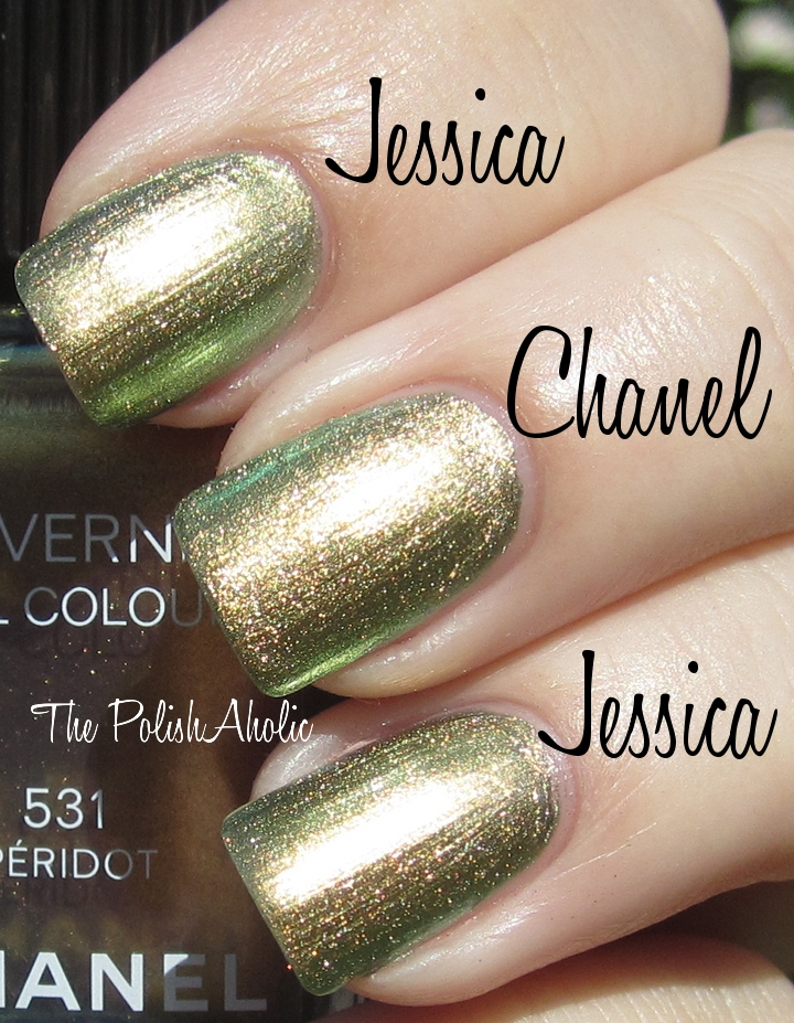 The PolishAholic: Jessica Iridescent Eye vs Chanel Peridot