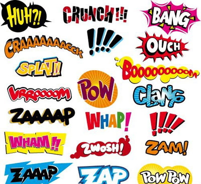 Comic Book Action Words Font Splish Splash Splatter Onomatopeoia Art