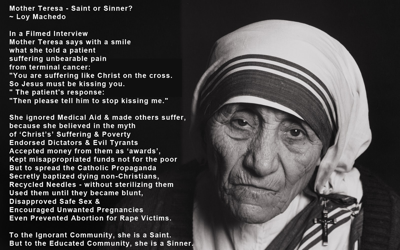 the influence of mother teresa On the occasion of mother teresa's 104th birthday, we look at the many high-profile humanitarians, musicians, athletes and others who have acted under her influence.