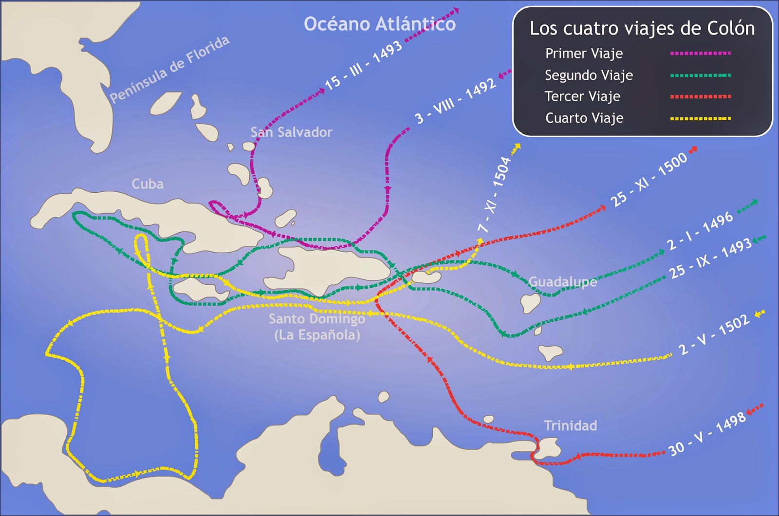 Mapa de los viajes de cristobal colon en america imagui for Cuarto viaje de cristobal colon