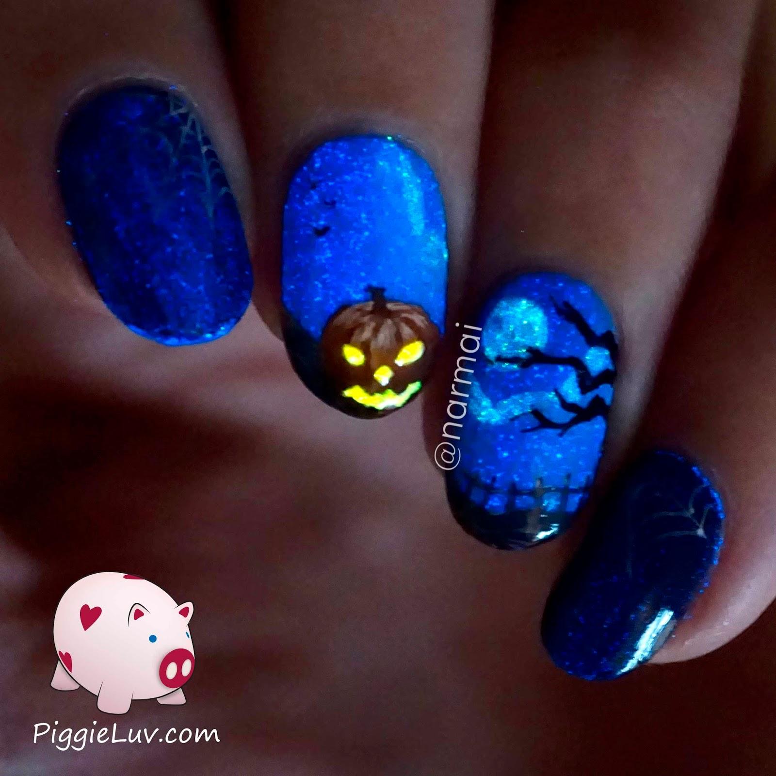 PiggieLuv: Happy Halloween nail art - HPB linkup