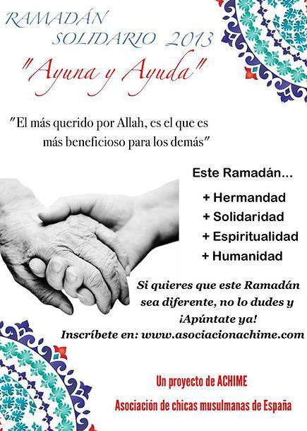 """RAMADÁN SOLIDARIO: """"Ayuna y Ayuda"""" 2013"""