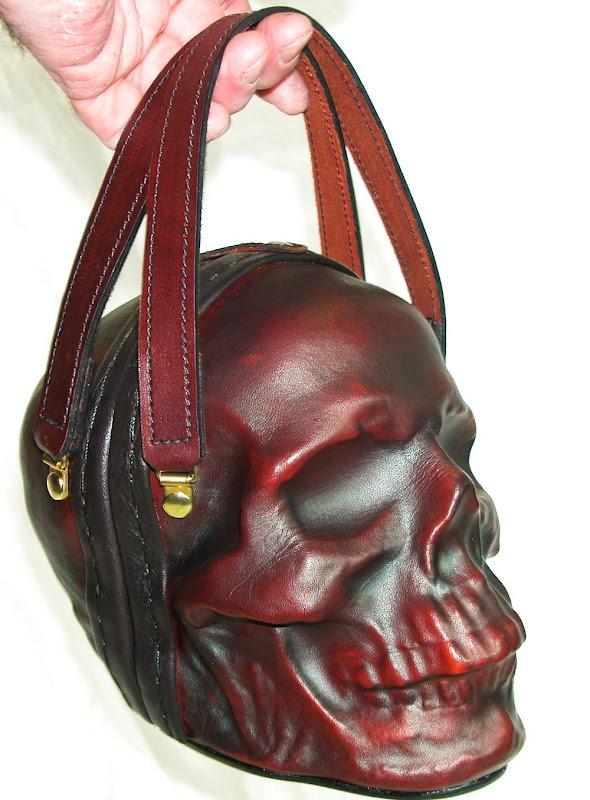 Læder håndtaske som kranium