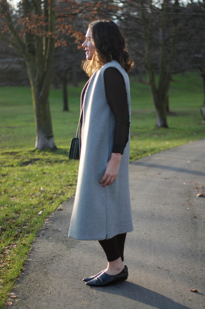 Long grey wool vest coat TOPSHOP