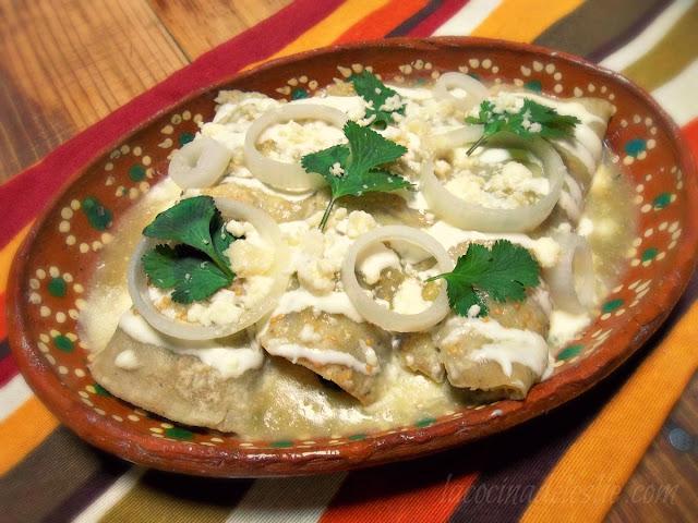 Enchiladas de Acelgas (Swiss Chard Enchiladas) - lacocinadeleslie.com