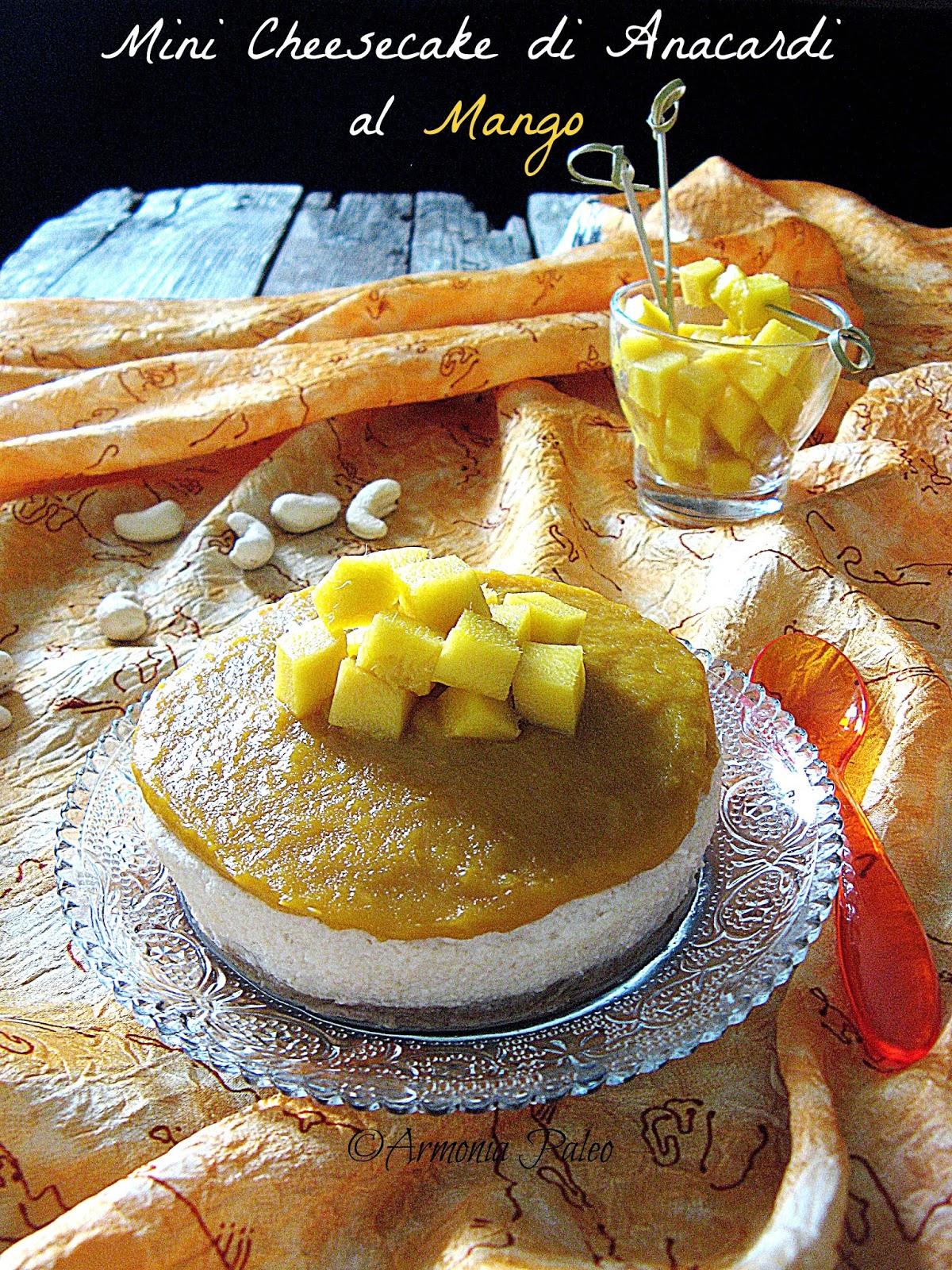 Mini Cheesecake di Anacardi al Mango di Armonia Paleo