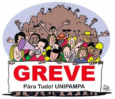 """Desenho simbolizando vários professores reunidos segurando uma faixa em que está escrito: """"Greve! Para tudo Unipampa!"""""""