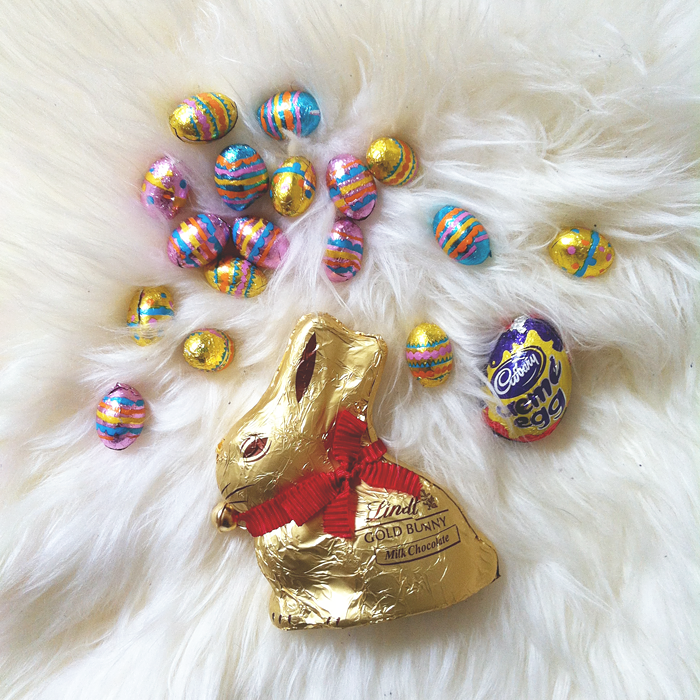 Lindt chocolate bunny, Cadbury creme egg and chocolate eggs