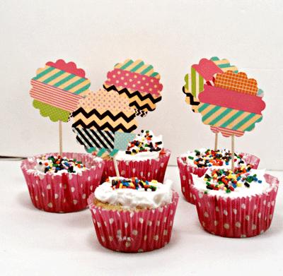 Tops para los cupcakes con washi tape