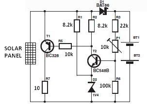 world technical  solar charger circuit diagram