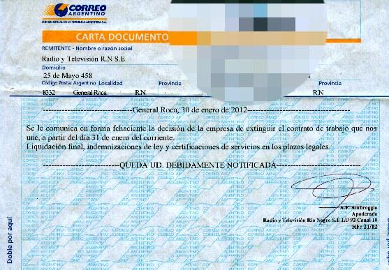 Corte directo patagonia blog de noticias regionales enero for Modelo de contrato de trabajo de empleada domestica