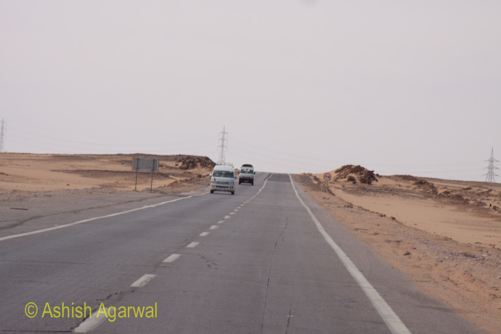 Road going from Aswan to Abu Simbel - a desolate long highway