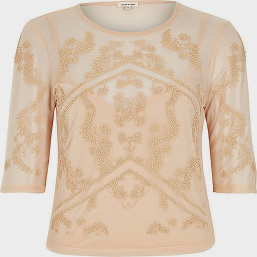 peach river island top, embroidered mesh top,