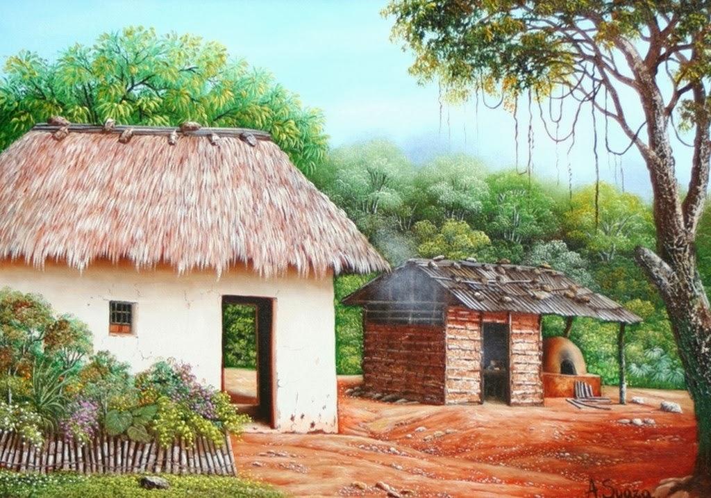Im genes arte pinturas paisajes con chozas de palma for Pinturas para casas de campo
