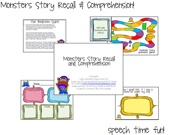 Monsters story recall comprehension i have been using my story grammar marker to teach students how to listen for and recall key story elements i plan to use this new activity to continue ccuart Choice Image