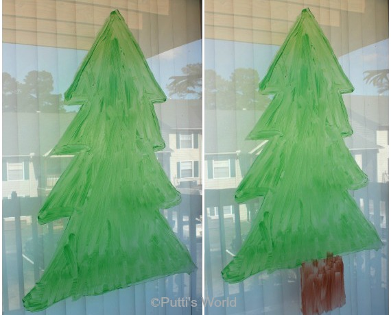 Painted Christmas Tree on Window Kids Craft