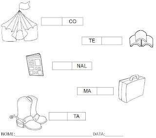 Atividade para Alfabetização - Complete a palavra com a sílaba 6