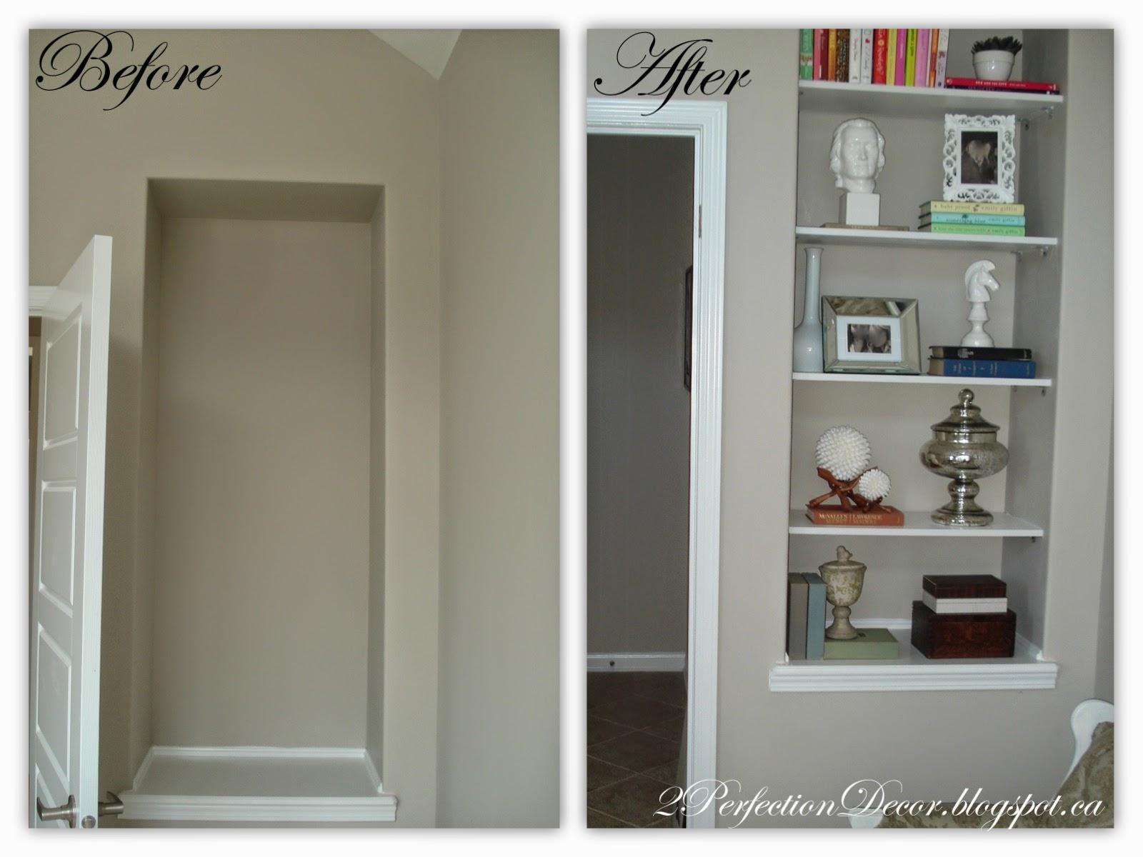 Built In Drywall Shelves 2perfection Decor Drywall Picture Niche Turned Into Diy Shelving
