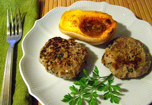 Two Sausage Burgers with Mini-Butternut and Parsley