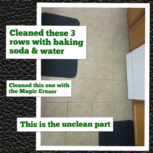 I decided to clean some of my floor with the homemade baking soda and water grout cleaner from that pin and some of it with the Magic Eraser to see which ...