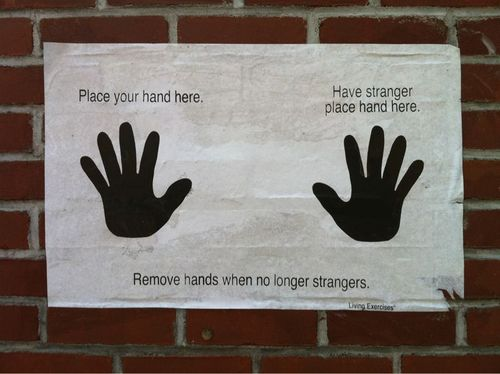 make new friends, handprints, wall