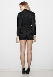 Vintage 1970's black shadow striped long sleeved romper with tie belt.