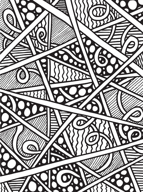 abstract doodles print to color