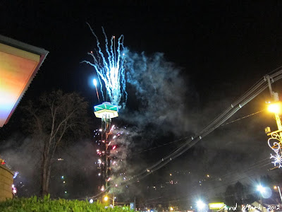 downtown gatlinburg at night, tennessee, new years, fireworks