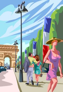 Les Champs Elysées à Paris (dessin)